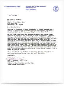 Simple Saver System OSHA Compliance Letter