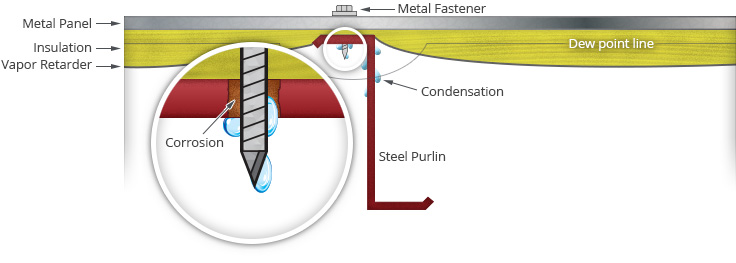 Illustration of corrosion caused by condensation on exposed steel purlins